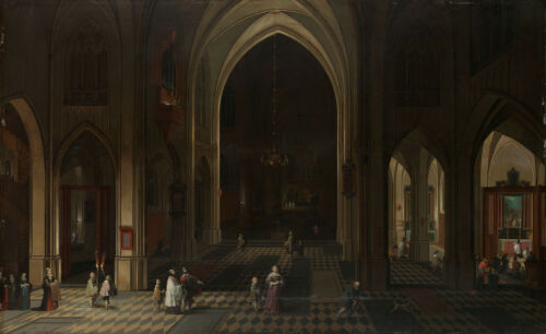 """oil painting  on canvas """"A church theatre by candlelight with some visitors"""""""