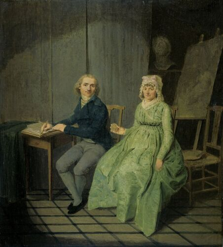 """oil painting  handpainted on canvas """"the painter with his wife"""""""