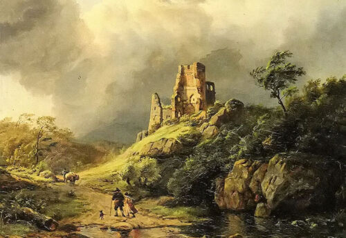 Oil painting berckheyde - the approaching storm beautiful landscape on canvas