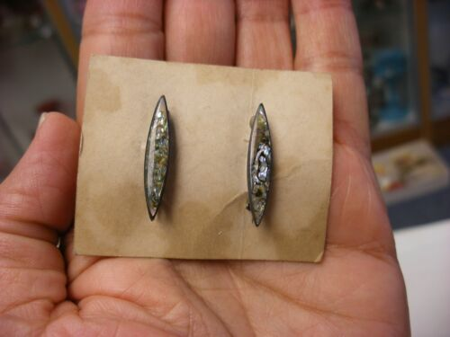 Vintage Pair of Abalone & Sterling Silver Pins on Original Store Card