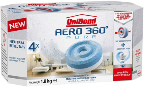 UniBond AERO 360 Degree Moisture Absorber Neutral Refill Tab Pack of 4(4 x 450g) <br/> Trusted Seller - Top Quality - Money Back Guarantee