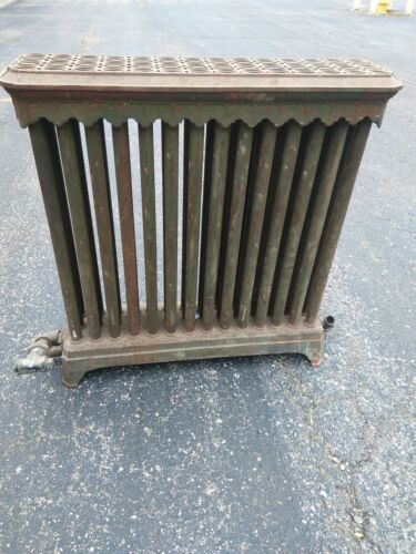30 x 30 x 9 Antique Victorian Radiator Cast Iron Green w gold over paint Heavy