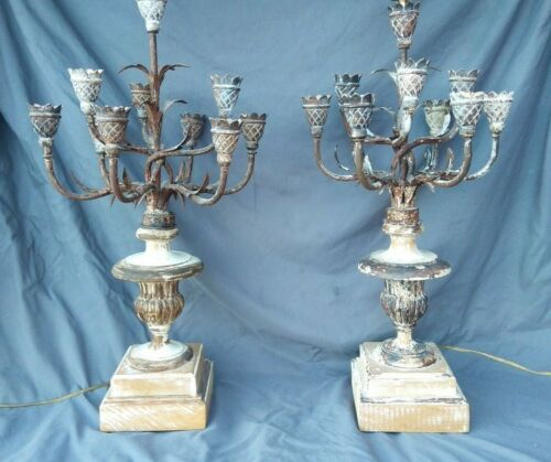 Fabulous Pair Vtg Chapman Distressed Paint Italian Urn Iron Tole 39 x 13 wired