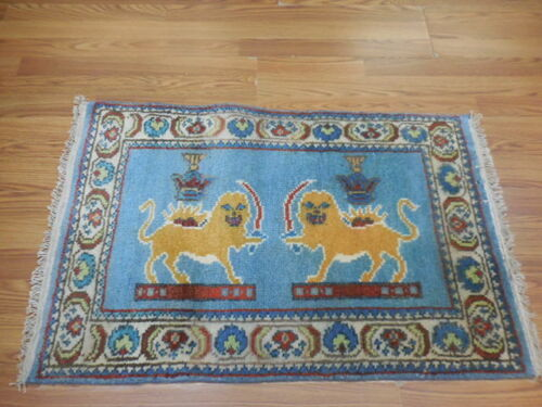 SUPER SUPER FINE TURKISH VEG DYE HUNTING(LION) GHOMM GHOMM 2x3CONTEMPORARY RUG