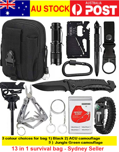 13 Emergency Survival Kit Equipment Outdoor Tactical Hiking Camping Sports Tool