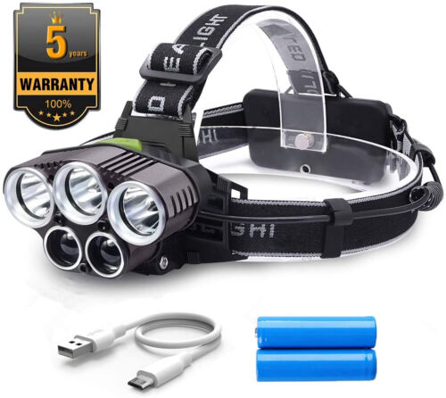 LED Head Torch Rechargeable Headlight with 6 Modes Super Bright Waterproof Headl