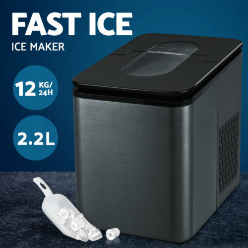 2.2L Ice Maker 12KG Portable Ice Makers Cube Tray Bar Home Countertop Black <br/> 9 Cubes in 8 Mins / Bullet Shape / Ice Full Indicator