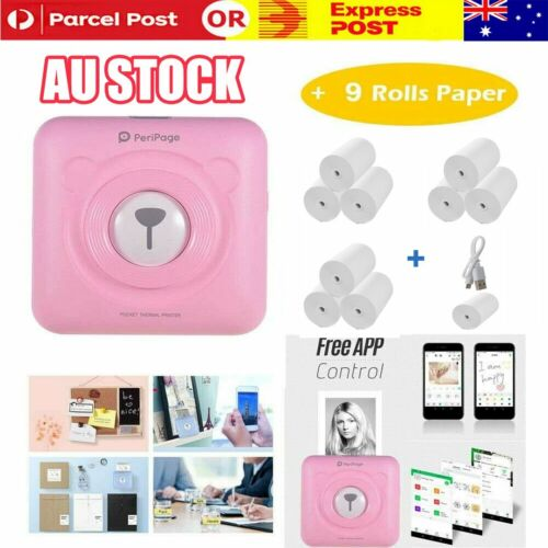 PeriPage Printer Portable Thermal Photo Wireless Mini Pocket with 10 Rolls Paper
