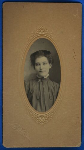 Antique Photo Young Woman Upswept Hair Stair Mitchell SD South Dakota