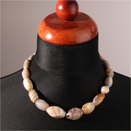 11237 Necklace With Antique Steinperlen Agate Gebrauchpatina for Collectors
