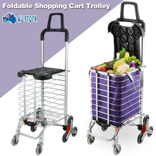 Stainless Steel Foldable Shopping Cart Trolley Portable Basket Luggage Grocery