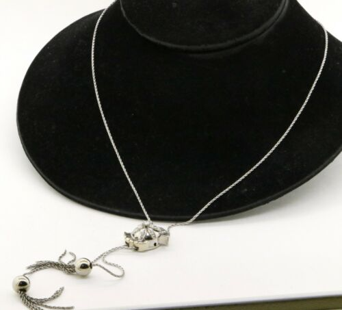 Heavy 14K VS beautiful 1.63CTW VS diamond flower flip-top watch lariat necklace <br/> 21.3 grams, Presents Beautifully!