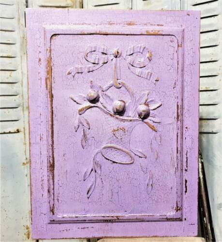 Bow ribbon fruit basket wood carving panel Antique french architectural salvage