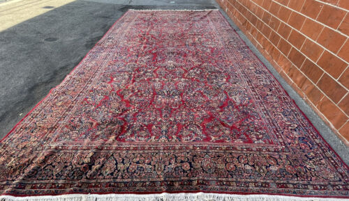 Auth:  Antique Sarougk Red Botanical Hand Made  P E R S I A N  wool Beauty 12x24