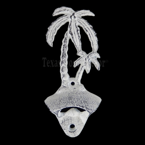 Palm Trees Beer Soda Bottle Opener Cast Iron Wall Mounted Rustic Off-White