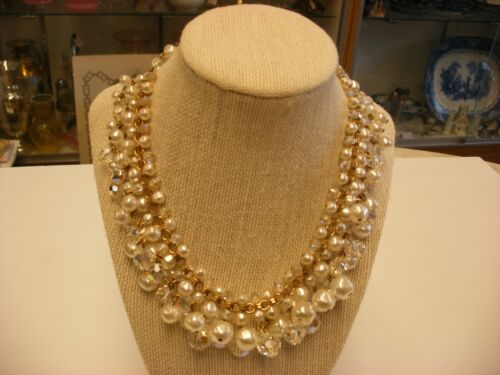 Vintage Signed Laguna Jewelry - Bead & Crystal Cluster Necklace #2093