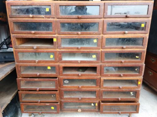 Antique Country Store Haberdashery 24 Drawer Cabinet Oak we deliver Stacking 2pc