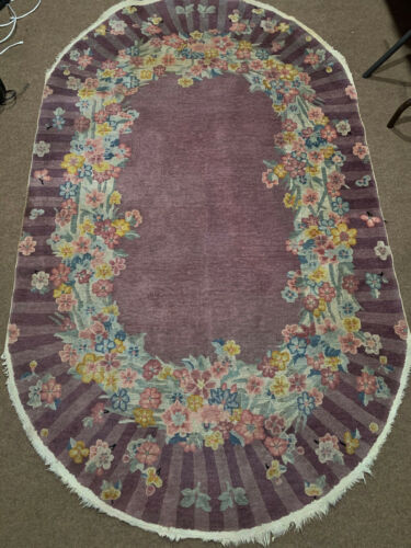 Antique Hand Made Chinese Purple color Rug 5x7ft