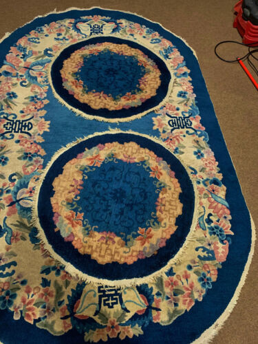 3 Antique Hand Made Chinese sky blue  color Rug 5x7ft  and 2  round 2'6""