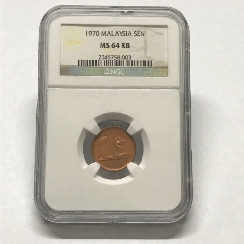 Malaysia 1 Sen Coins (1970) Key date NGC MS 64 RB