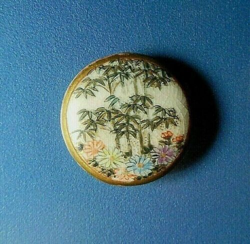 """Antique Painted SATSUMA Ceramic Button-Bamboo Forest/Flowers 1-1/16"""""""
