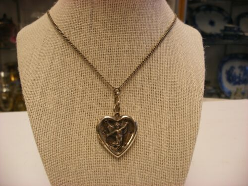 Vintage Sterling Silver Necklace with Photo Pendant Cherub & Heart Design #2107