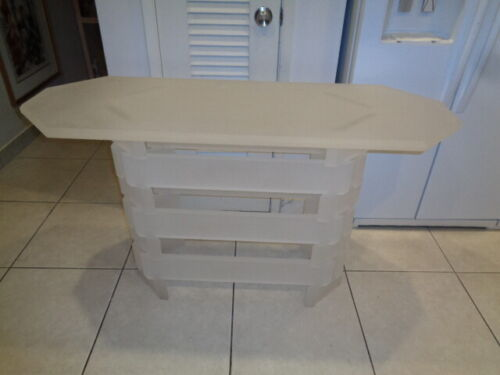 """Rare Mid Century Frosted Stacked Lucite/Acrylic Entry Table (50 by 28 by 18"""")"""