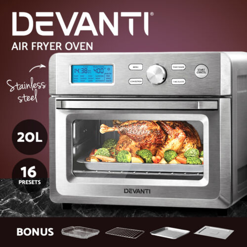 Devanti 20L Air Fryer Convection Oven LCD Fryers Kitchen Cooker Accessories <br/> ✔20L Capacity ✔Stainless Steel ✔LCD Display ✔1600W