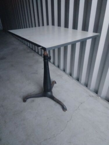 Antique Cast iron Drafting Table adjustable  31 X 23 top 32' height upwards