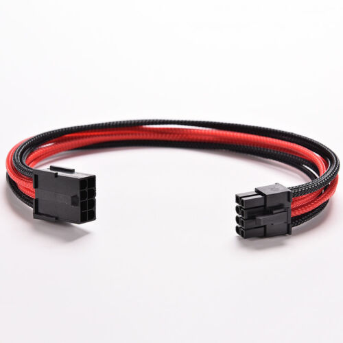 8Pin 30cm ATX Board PSU Power Supply Extension Cable Wire Black Red Sleeved W8E