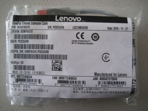 Lenovo ThinkPad Ethernet Extension Cable / Adapter; Part number:  4X90F84315