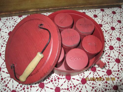 PRIMITIVE RED ROUND SPICE TIN BOX WITH 7 MARKED ROUND SPICE TINS INSIDE