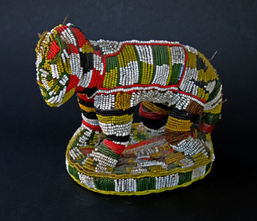 ANTIQUE AFRICAN BAMILEKE CAMEROON BEADED LION