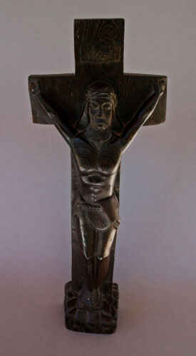 LARGE ANTIQUE AFRICAN CARVED WOOD CRUCIFIX CHRISTIAN JESUS TRIBAL