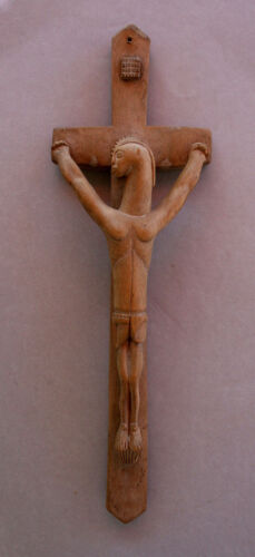 ANTIQUE AFRICAN SENOUFO CRUCIFIX JESUS CHRISTIAN CARVED WOOD TRIBAL
