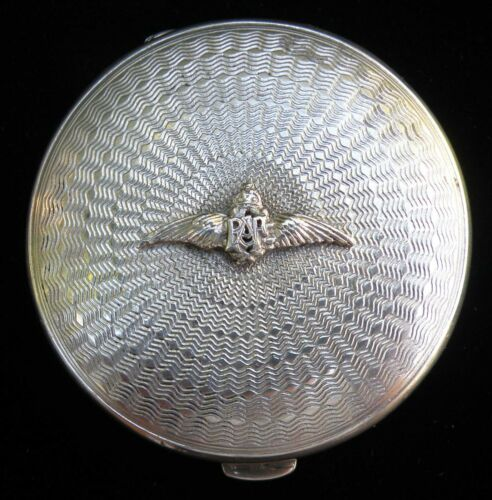 Rare Sterling Silver RAF Ladies Evening Compact with Houbigant interior fitting.