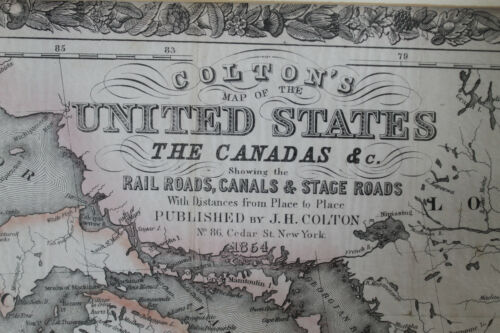 Vtg 1854 Colton's map  United States the Canadas Stage rail roads, canals
