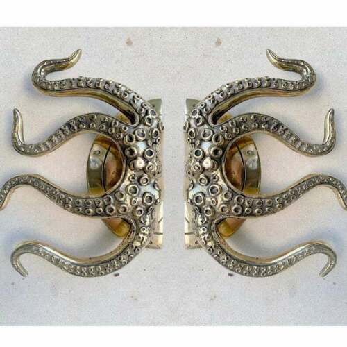 """pair OCTOPUS Solid 100% Brass hand POLISHED Door PULL HANDLE 9"""" high aged B"""