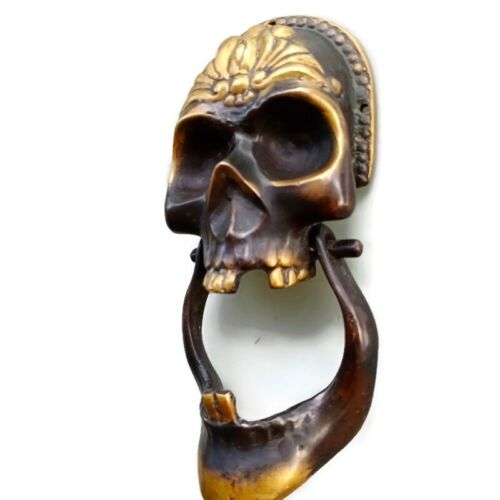 """SKULL head and JAW heavy front Door Knocker SOLID BRASS day of the dead 8"""" B"""