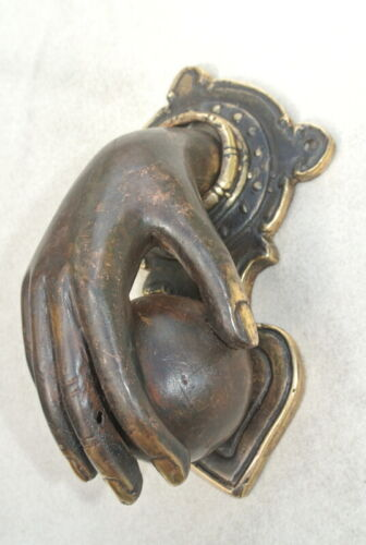 hand fist ball front Door Knocker fingers solid brass hollow 16 cm old style B