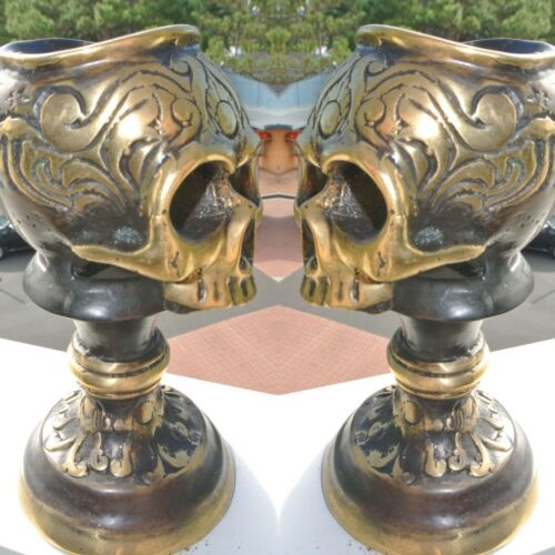 """2 SKULL head CANDLE STICK BRASS old vintage style collect 5.1/2"""" aged heavy B"""
