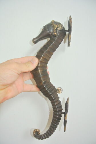 """large aged SEAHORSE solid brass door old style 13"""" PULL handle bronze patina B"""