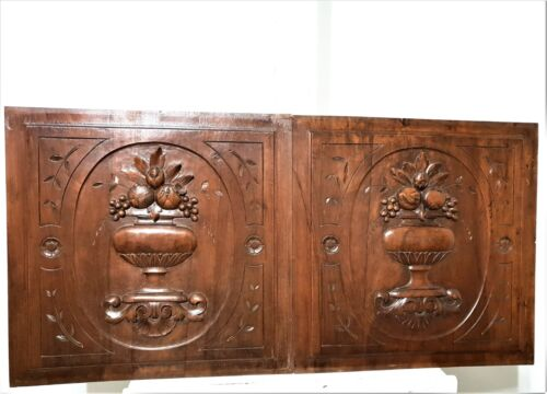 Pair medicis vases decorative carving panel antique french architectural salvage