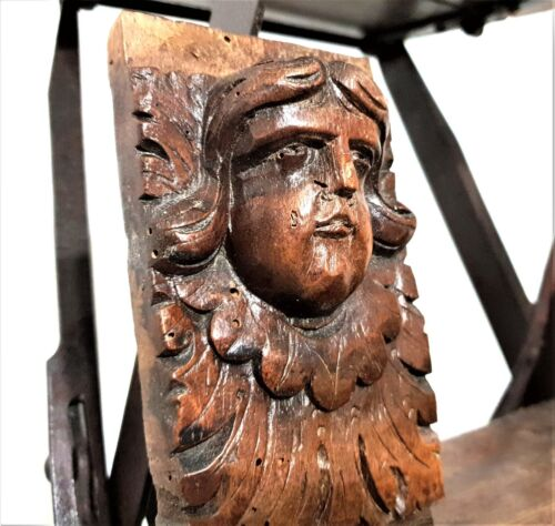 17 th renaissance angel figure corbel antique french wooden salvaged furniture
