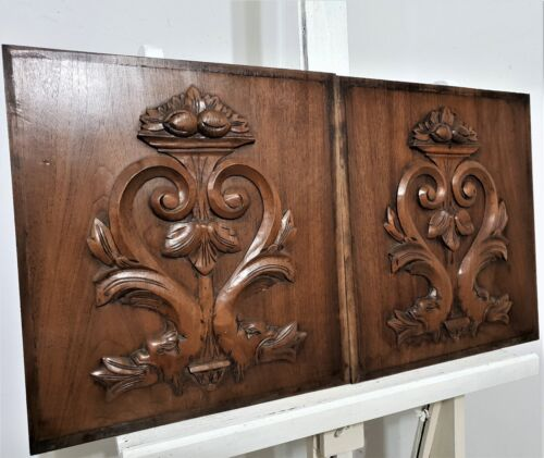 Pair griffin scroll leaves carving panel antique french architectural salvage