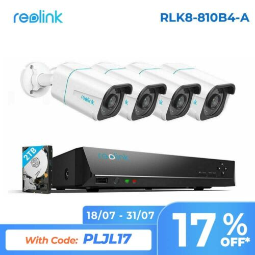 Reolink 8CH 4K 8MP Security System NVR Kit Person/Vehicle Detection RLK8-810B4-A
