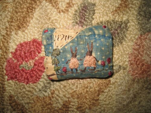 Primitive tiny Sampler Pillow~1711 Rabbits in Pink Dresses~Early Blue Quilt~