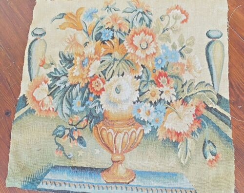 Vintage Tapestry Panel Square with Urn & Flower WW247