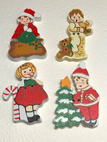 4 Sweet Christmas Children Brightly Painted Button Set