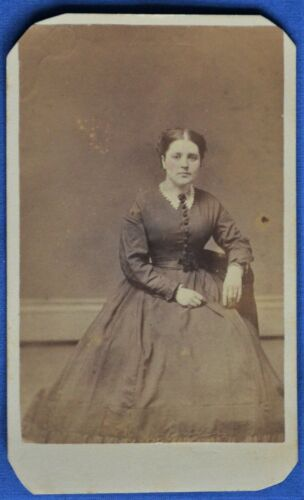 CDV Photo Woman Hoop Skirt Piper Manchester NH Backstamp 1860s